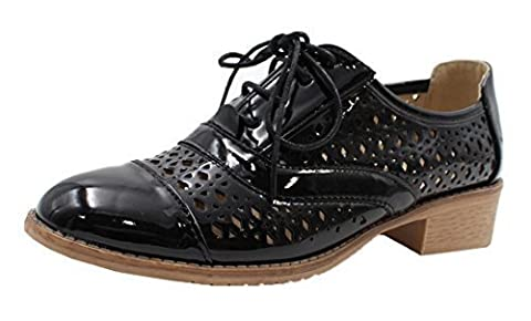 Womens Ladies Patent Cut Out Lace Up Flat Low Heel Fashion Oxford Brogue Pumps Shoes - B96 (UK 4 / EU 37,