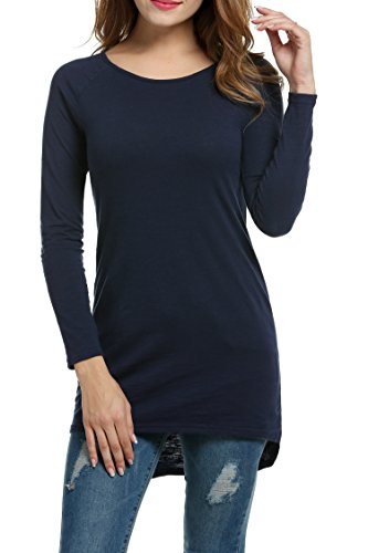 Meaneor Damen Langarm Shirt Basics Shirt Longshirt Tunika Bluse T-Shirt Baumwolle Oberteil Asymmetrisch, Navy Blau, EU 40(Herstellergröße: L)