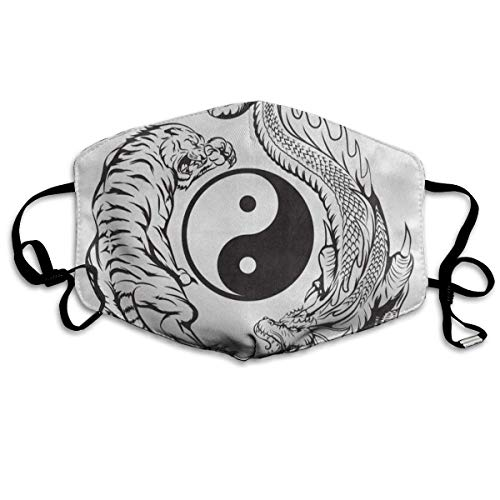 Sdltkhy Dustproof Anti-Bacterial Washable Reusable Dragon Fighting with Tiger Chinese Yin Yang Mouth Cover Mask Respirator Germ Protective Breath Healthy Safety Warm Windproof Mask Multicolor14 - Fighting Tigers Cover