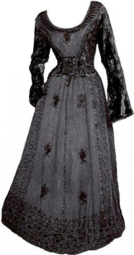 Dark Dreams Gothic Mittelalter LARP Kleid mit Samt bestickt Schnürung Freyja, Farbe:schwarz, Größe:freesize -