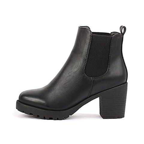 best-boots Damen Plateau Stiefelette Chelsea Boots SCHWARZ 1084 Größe