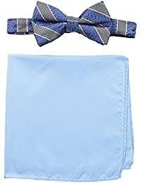 Nick Graham Men's Stripe Bow Tie with Pocket Square