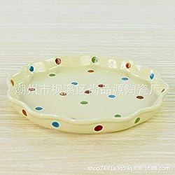 Plato de vajilla de cerámica de Yanyudongi a lunares Plato elegante de color de arroz