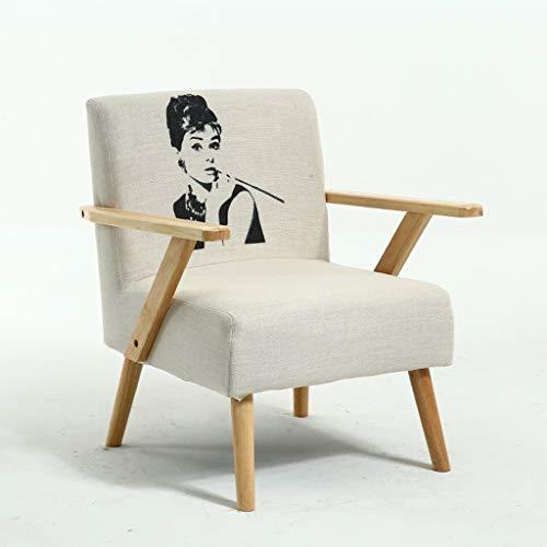 Jizhen Lounge Chair Sessel für Wohnzimmer Accent Chair Sofa Recliner einfaches Sofa Schlafzimmer Apartment Individuelles Wohnzimmer Restaurant Freizeit Tuch Chair (Farbe : Hepburn) -