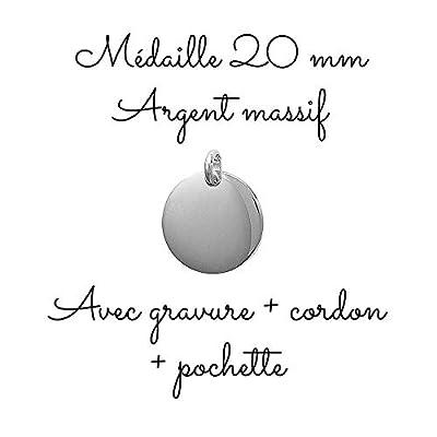 MELI MELOW Pendentif médaille ronde 20 mm et gravure de votre choix recto verso en argent massif - bijou personnalisé gravé made in France MIF