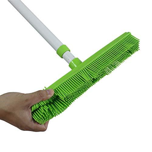 Push Besen mit weichem Gummi Borsten Rakel Edge Verwendung für Pet Cat Dog Hair ideal für Reinigung Hartholz Vinyl Teppich (Gummi Besen) -