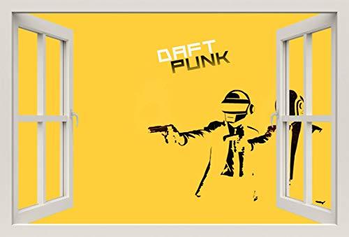 Unified Distribution Daft Punk Gelb Pulp Fiction - Wandtattoo mit 3D Effekt, Aufkleber für Wände und Türen Größe: 92x61 cm, Stil: Fenster (Daft Punk-aufkleber)