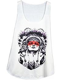 39d7843c5a3 Debardeur Femme Imprime Coiffe Indienne - Illustration - Tattoo - Tatouage
