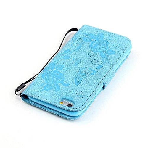 iPhone Case Cover Peint de couleur diamant motif Wallet Style Case Magnétique Design Flip Folio cuir PU couverture Housse de standup pour IPhone 6S Plus 5.5 pouces ( Color : Rose , Size : IPhone 6S Pl Blue