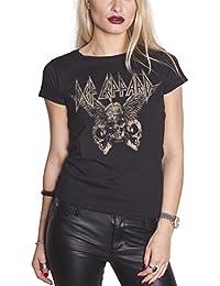 Def Leppard T Shirt Flying Skulls Band Logo Official Womens Skinny Fit Black