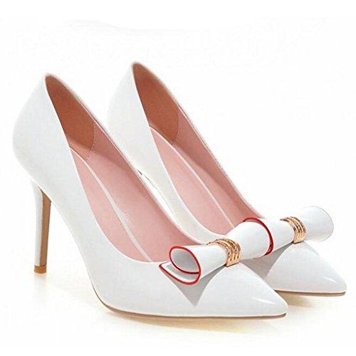 W&LM Chaussures individuelles Pierres de Strass Bouche superficielle Pointu Très bien avec Talons hauts Sandales femme white