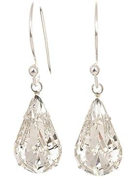 Ohrringe Silber Swarovski-Kristalle Tropfenform mit Geschenkschachtel