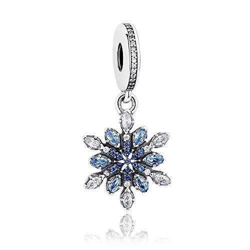 Charm-Anhänger Schneeflocke mit blauen Kristallen und klaren Zirkonia, 925 Sterlingsilber, für Pandora- und andere europäische Charm-Armbänder - Kristall-schneeflocke