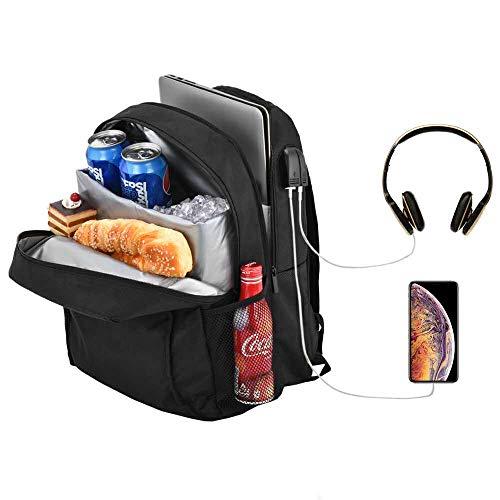 Posloc Laptoprucksack mit Kühler,auslaufsicherer Kühlerrucksack 24L für das Mittagessen,Schulcomputerrucksack für 14