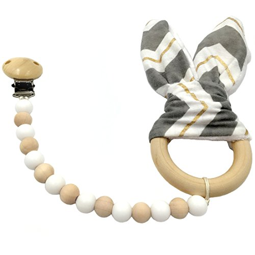 Coskiss Grigio White Gold Stripe Ciuccio di legno della clip dell'orecchio Teether Montessori giocattolo perline in silicone legno Anello Bunny legno Nursing Baby (Grigio White Gold Stripe)