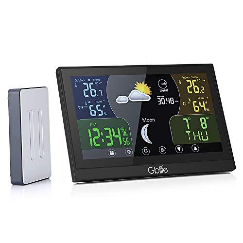 GBlife Station Météo Intérieur Extérieur sans Fil Professionnelle Thermomètre Hygromètre Colorée avec Ecran LCD Digital Baromètre Numérique