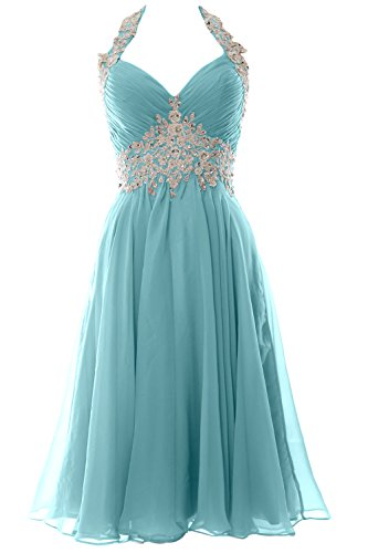 MACloth Women Halter Short Applique Homecoming Wedding Party Cocktail Dress (EU46, Aqua) Beaded Waist Halter Dress