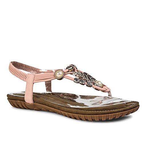 Mulheres Trenner Rosa Rebite Contas St110 Brilhantes Toe Sandálias Verão Das aqUEwa4