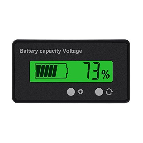 Konesky LCD Batterie Kapazität Monitor Messgerät, Bleibatterie Tester Lithium Batterie Kapazität Anzeige Voltmeter für 12 V / 24 V / 36 V / 48 V (Greenbacklight) (36-volt-batterie Messgerät)
