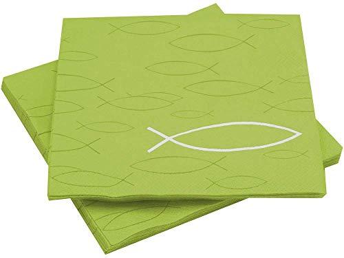 Unbekannt Servietten Fisch Grün Tischdeko Kommunion Konfirmation Lunch Deko 20 Stück