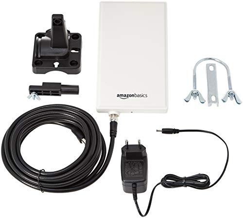 41C1nuGKjUL - AmazonBasics - Antena de radio y televisión digital interior-exterior para HDTV, receptor DVB-T, VHF, UHF y FM, con un alcance de 48 km