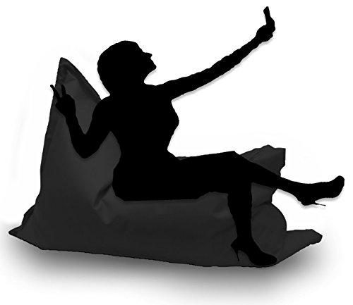Sitzsack XL 145 x 100 cm mit Füllung - Farbe & Größe Wählbar- In & Outdoor Sitzsäcke Sessel Kissen Sofa Hocker Sitzkissen Bodenkissen (ca.145x100cm, Schwarz) (Sofas Und Sofas Mit Sessel)