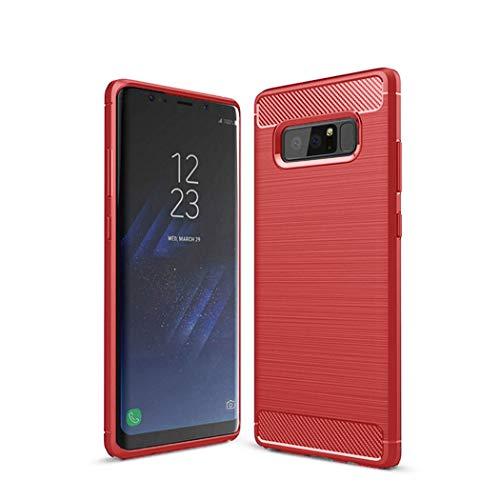 Kit Me Out DE® Galaxy Note 8 Schutzhülle TPU-Gel Gebürstete Carbonfaser Hülle Rückseite - stoßfest & robust - für Sansung Galaxy Note 8 - Rot