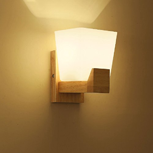 Crayom Hochwertige einfache japanische Wandleuchte Holz führte Massivholz Lampen Gang Gang mit Schlafzimmer Lichter Holz Glas Wandleuchte Single Head Double Head E27 ( Size : Single head ) (Für Lampen Kitty Hello Schlafzimmer)