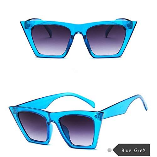 Taiyangcheng Sonnenbrille Frauen Über Größe Quadrat Sonnenbrille Großen Rahmen Hd Objektiv Pc Brille Eyewear Zubehör,Blau grau