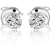 Kanggest 1 Par Mujer Pendientes Moda Niña Brillar Cristal Aretes Delfín Pendientes para Mujeres Joyería Accesorios