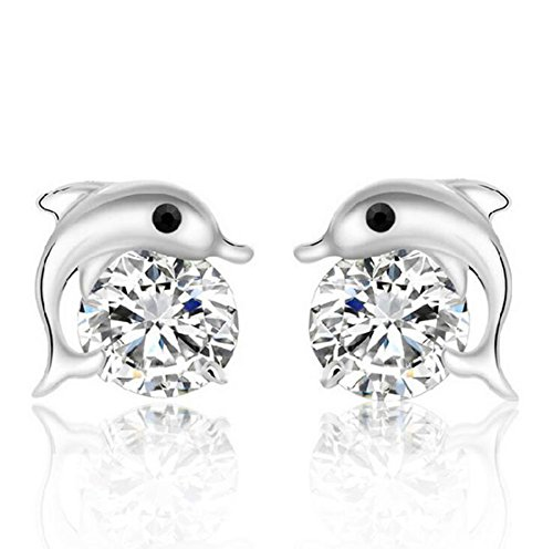 Qingsun Mode Mädchen Zirkon Ohrringe Silber Delphin Form (1 Paar)