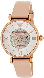 Emporio Armani Women's 'Dress' Japanese Automatic Stainless Steel and Leather Casual Watch, Beige