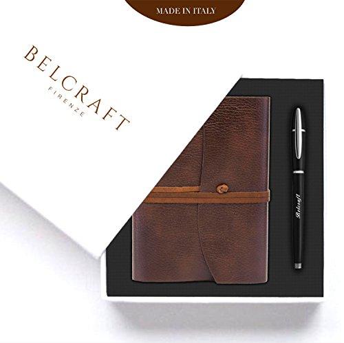 Belcraft preziosa idea regalo composta da diario/taccuino marrone, elegante penna a sfera e scatola regalo, realizzato a mano da artigiani toscani, regalo per uomo, papà, compleanno, regalo per lui