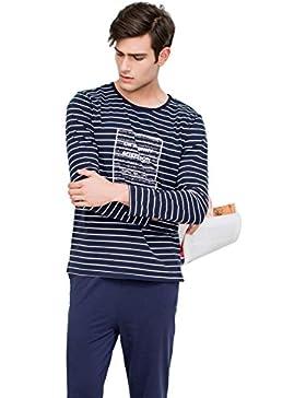 QianXiu Pijama de rayas ropa de noche hombre ropa de noche rayada ropa casual Manga larga camisones hombre conjunto...