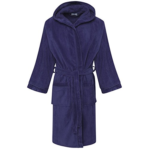 Unisex 100% Kids Egyption Cotton Bath Super Soft Veloue Towel Bath Robe Hooded Dressing Gown Boys Night wear House Coat Girls Lounge Wear With Pocket and Belt