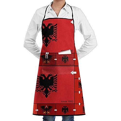 Kostüm Weihnachts Wirt - UQ Galaxy Grillschürze,Albanische Flagge Geschichte und Evolution Schürze Spitze Adult Chef Einstellbare Lange vollschwarze Küche Schürzen Lätzchen mit Taschen für Restaurant Backen BBQ