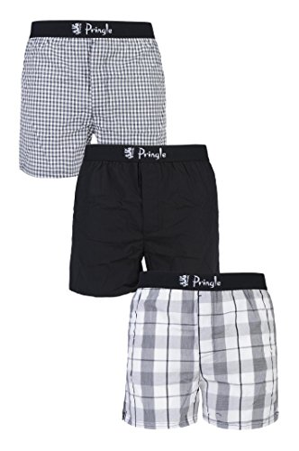 44a37c83704f Mens 3 Pack Pringle Check and Plain 100% Cotton Woven Boxers