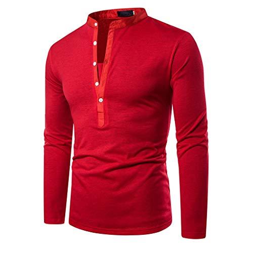 DNOQN Oversize T Shirt Herren Cashmere Pullover Slim Fit Bluse Herren Patchwork Knopf Slim Fit Umlegekragen Langarm Top Bluse Shirt L