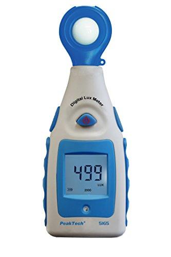 PeakTech Digital Luxmeter, Lichtmesser, Beleuchtungsmessgerät, Helligkeitsmesser, Messgerät mit Messbereich von 0-200000 Lux, 1 Stück, P 5165