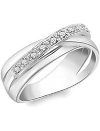 Carissima Gold Damen-Ring 9 k (375) Weißgold Diamant 56 (17.8)
