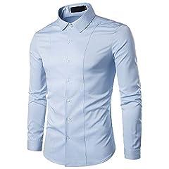 Idea Regalo - Gdtime Camicie da Uomo d'Affari, Camicia Casual a Maniche Lunghe Slim Fit Classica Tinta Unita Camicia Elegante Antirughe per Uomini Delicati, Taglia (Blu Chiaro, S)