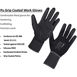 12 Pairs Grey Nitrile Palm Coated, Cut Resistant, Work, Precision, Gardening Gloves Comes with AARON Chemicals Discount Voucher (M)