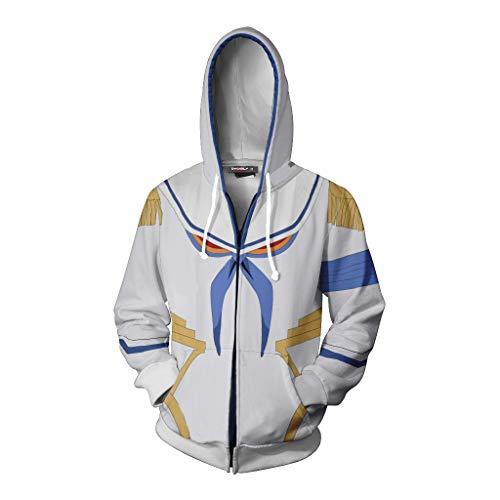 IDEALcos Halloween Jungen Kampfanzug Ryuko Matoi Hooded Sweatshirt Outfit Cosplay Kostüm (XXL, Weiß)