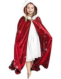 ZIYOU Kinder Weihnachtskostüm Mantel mit Kapuzen Cosplay Robe für Jungen Mädchen