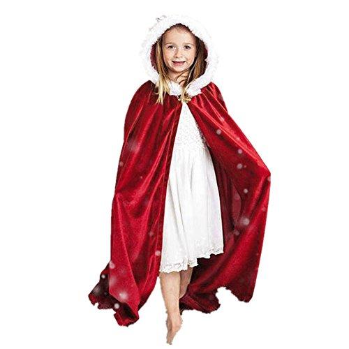 ZIYOU Kinder Weihnachtskostüm Mantel mit Kapuzen Cosplay Robe für Jungen Mädchen (Rot) (Rot Und Schwarz Kapuze Mädchen Kostüm Robe)