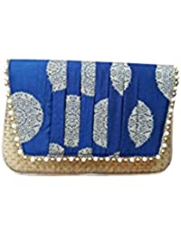 V Raj Bag Women's Synthetic Blue Clutch With Sling Bag ( 10 X 2 X 5 Inches (L × W × H ))