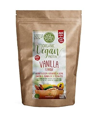 Protéine Vegan Bio - Vanille - 72% Protéines - Bio Certifié - Mélange de protéines de pois et de riz - Sans: Allergène, Lactose, OGM, Additifs Artificiels - 500g