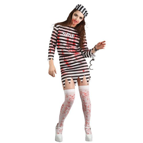 (L) Damen Zombie Sträfling Halloween Kostüm für Fancy Dress Damen - Uk Sträfling Halloween-kostüme
