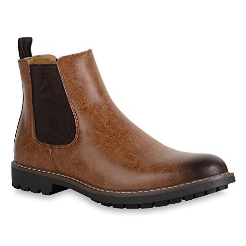 Herren Schuhe Boots Chelsea Boots Profilsohle Trendy Freizeitschuhe 152074 Braun 42 Flandell (Herren Stiefel)