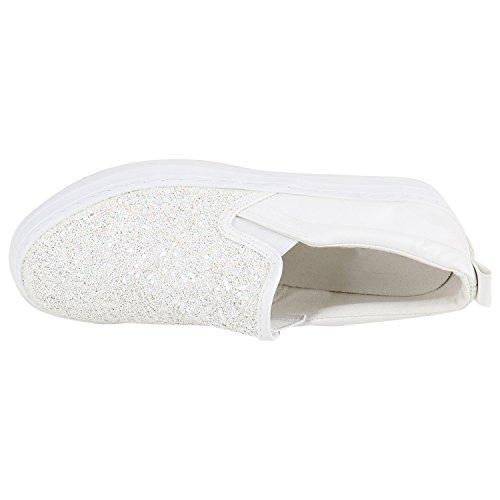 Damen Slip-ons Glitzer Plateau Slipper Metallic Trend Schuhe | Gr. 36-41 | Aktuelle Kollektion Weiss Glitzer Weiss